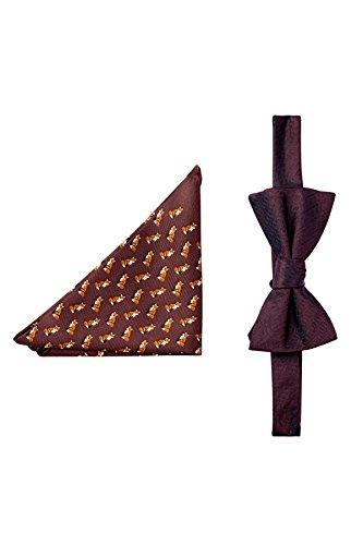 Tommy Hilfiger Men's Fox & Herringbone Silk Bow Tie & Pocket Square Set, OS (Burgundy) (Tommy Hilfiger Bow Tie And Pocket Square Set)