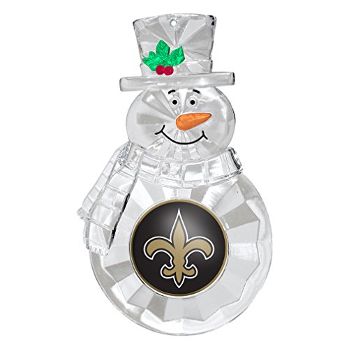New Orleans Saints Stained Glass - NFL New Orleans Saints Traditional Snowman Ornament