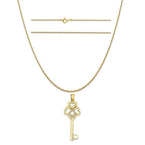 Triple Heart Key - 14k Yellow Gold Triple Heart Key with Key To My Heart Pendant on 14K Yellow Gold Rope Necklace, 20