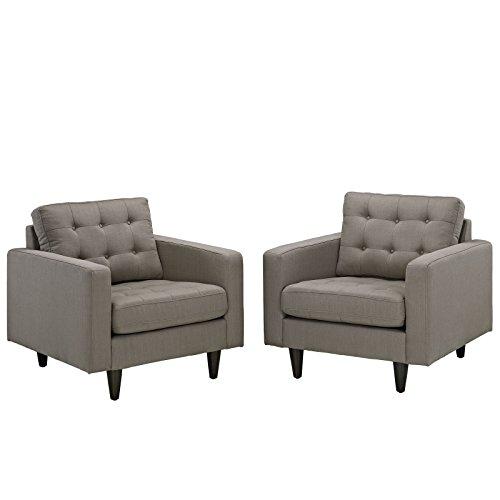Modway EEI-1283-GRA Empress Mid-Century Modern Upholstered Fabric Two Armchair Set Granite