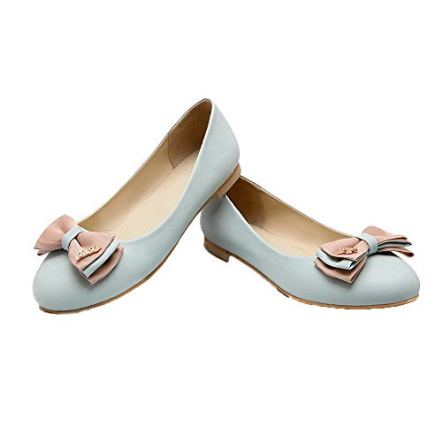 Non Clair Bleu D'orteil Couleur Chaussures Tire Femme Agoolar Talon Légeres Unie Fermeture TqR5xv