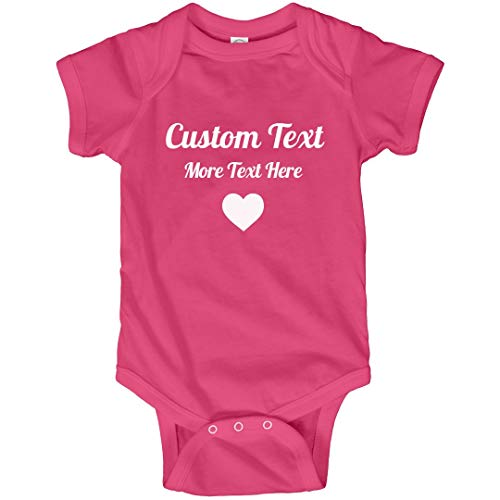 Bodysuit Customized - Personalized Baby Outfit with Custom Text: Infant Bodysuit Hot Pink