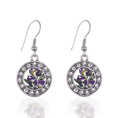 Inspired Silver - Iris Flower Charm Earrings for Women - Silver Circle Charm French Hook Drop Earrings with Cubic Zirconia -