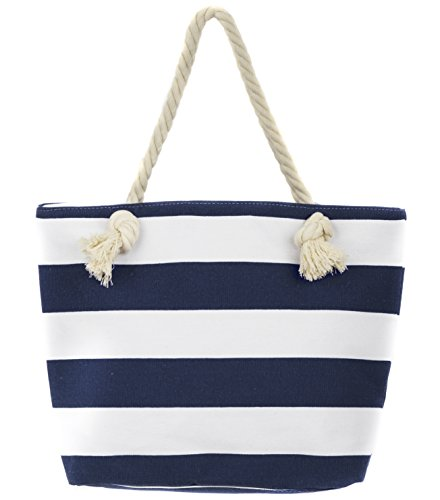 Stripe Beach Tote - Leisureland Canvas Tote Beach Bag, Rope Handle Water Resistant Shoulder Bag (Stripe Navy Blue)