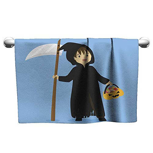 Gym Towels for Women Halloween Grim Reaper Costume Vector Microfiber Beach Towel Hair Towel 12 x 35 Inch]()