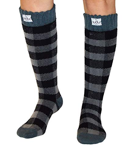 Pudus lumberjack grey adult W6-10 tall cozy winter boot Socks