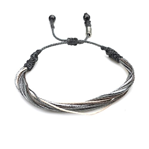 Grey String Bracelet for Men and Women with Hematite Stones in Gray, Off-White, and Metallic Silver: Handmade Surfer Rope Friendship Bracelet by Rumi Sumaq