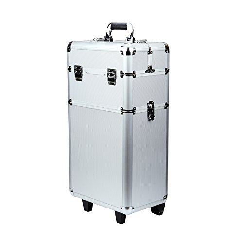 Rolling Makeup Case 3 in 1 Aluminum Professional Trolley Train Case Organizer Cosmetic Box Wheeled Artist Travel(Silver)