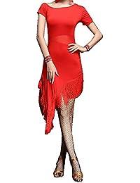 Gradient Ruffle Split Leg Latin Salsa Jive Dance Sport Costumes Dresses