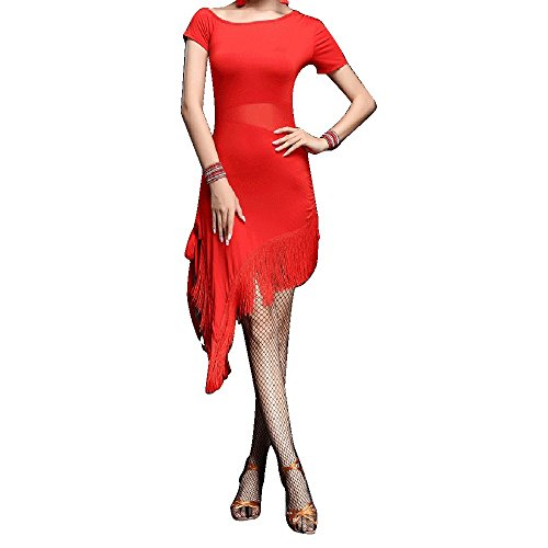 Whitewed Sexy Split Two Tone Latin American Ballroom Fringe Dance Costumes Red, Red, X - Small