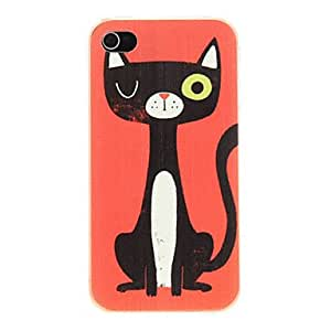 LZX Basso-relievo Adorable Cat Pattern PC Hard Case for iPhone 4/4S