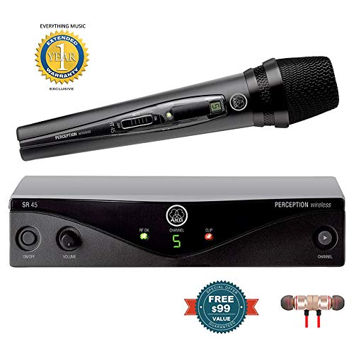 AKG Perception Wireless 45 Vocal Set Wireless Microphone System Band A includes Free Wireless Earbuds - Stereo Bluetooth In-ear and 1 Year Everything Music Extended Warranty