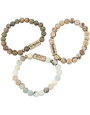 Framendino, 3 Pack Natural Volcanic Stone Bracelet Friendship Forever Best Friends Bracelets