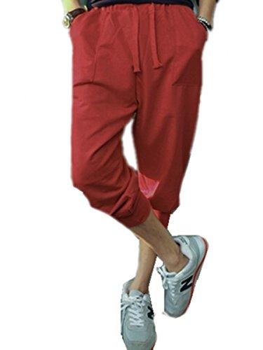 TM Men HIPHOP Sports Harem Taper Sweat Pants Jogging Trousers Calf-length red