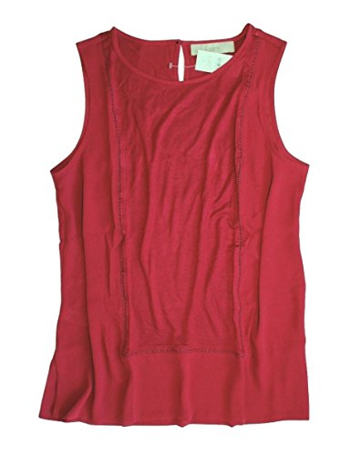 Ann Taylor LOFT - Women's - Solid Colors - Mixed Media Ladder Lace Shell Tank Top (Small, Vibrant Cranberry)