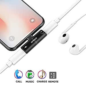 Iphone Adapter and Lightning Splitter for iPhone 7/7 Plus/8/8 Plus/X, DPKIKO Dual Lightning Headphone Jack Audio & Charge Cable at the same time Data Sync Call Function, Supports iOS 11 or Later