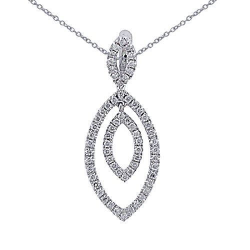0.37 Carat (ctw) 14k White Gold Round Diamond Women's Marquise Shape Pendant with 18