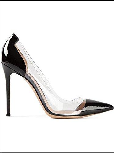 Xue Qiqi Court Schuhe Schuhe mit Hohen Hohen mit Absätzen Schuhe mit Hohen Absätzen Flache Schuhe Ms. Transparente Schuhe Schuhe mit Hohen Absätzen, 40, Schwarz (Lackleder) 8CM - 9dba73