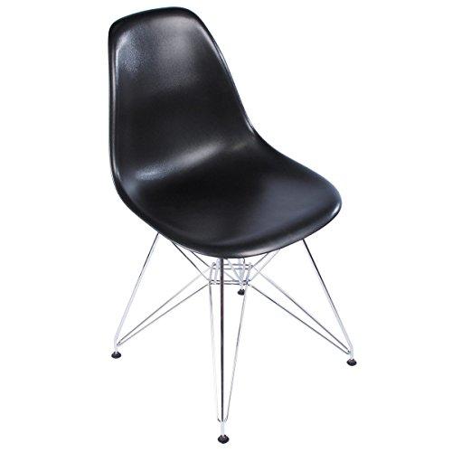 Eames Style Side Chair, Black w/ Metal Base