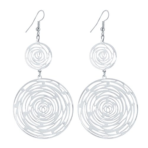 IDB Productions IDB Delicate Filigree Dangle Double Circle Swirl Drop Hook Earrings - available in silver and gold tones (Silver tone) ()