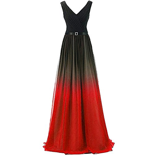 f8207b34a7d IBTOM CASTLE Women Chiffon Bridesmaid Pleated Dresses Gradient Deep V-Neck  High Waist Boho Long Cocktail Pageant Wedding Party Prom Gown Black+Red 14