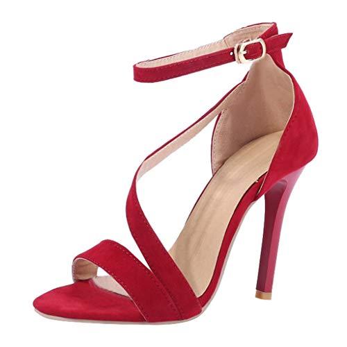 CUCAMM Sandals for Women, Platform & Wedge Sandals Athletic & Outdoor Sandals & Slides Loafers & Slip-Ons Women's Fashion Stilettos Open Toe Pump Heel Sandals Ankle Strap High Heel Shoes Red