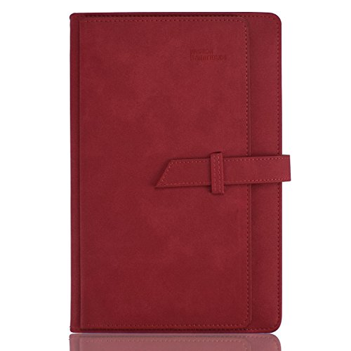 Planner 2018 Daily Calendar Schedule Organizer -Daily Weekly Monthly Yearly Journal -Stylish Line Notebook PU Cover by izBuy with Card Page and Pen Holder,Dated,8.5X5.9Inches,304 Pages(Red)
