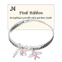 Pink Ribbon Faith Strength Hope Victory Bracelet Angel Wings Heart Charm by Jewelry Nexus
