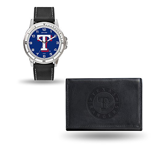Rico Industries MLB Texas Rangers Men's Watch and Wallet Set, Black, 7.5 x 4.25 x (Texas Rangers Watch)