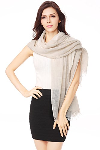 Linen Blend Scarf - Cotton Scarf Shawl Wrap Tassel Sunscreen Fashion Soft Scarves Bi-color Lightweight (beige and white)