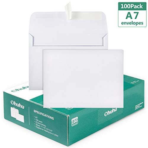 100 White A7 Envelopes, Ohuhu A7 5-1/4
