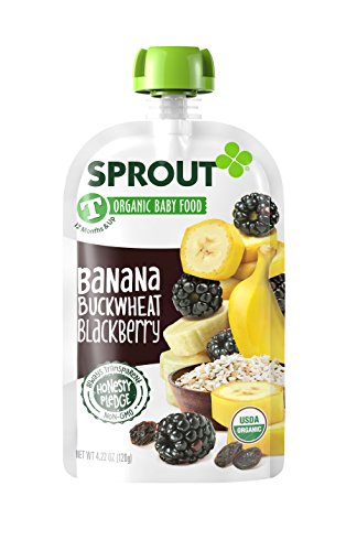 Sprout Organic Toddler Meal - Sprout Organic Toddler Food Pouches, Organic Toddler Food, Banana Buckwheat Blackberry, 4.22 Ounce (Pack of 5)