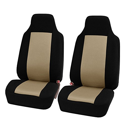 FH Group FH-FB102102 Classic High-Back Cloth Pair Car Seat Covers Beige/Black Color- Fit Most Car, Truck, SUV, or Van