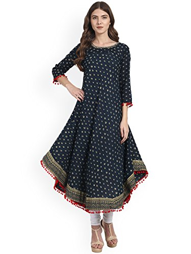 Dream Angel Fashion Womens Tunic Top to Wear with Leggings Kurta Kurtis Indian Party Wear (Navy Blue, Small)