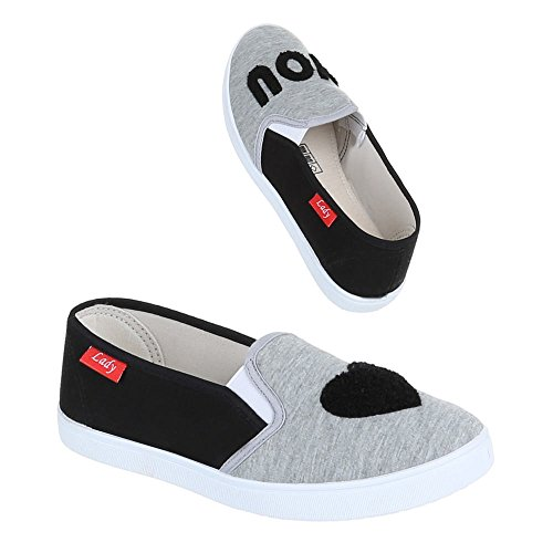 Ital-Design Damen Schuhe Halbschuhe Slipper Schwarz Grau