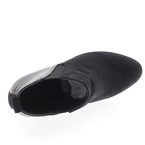 Botas Negras De Gamuza De 9 Cm De Grosor Y Estilo Croco