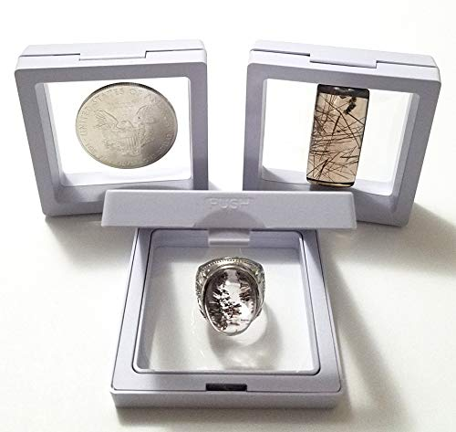 - JM Set of 3 pcs Transparent 3D Floating Frame Display Holder/Box/Frames for Challenge Coins, AA Medallions, Antique, Jewelry,Gift, White, 2.75 x 2.75 x 0.75 Inches