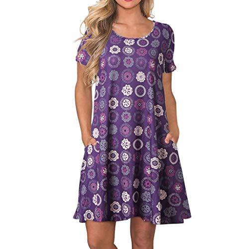 RIUDA Women's Summer Sexy Floral Printed Party Dress Spaghetti Strap Purple ()