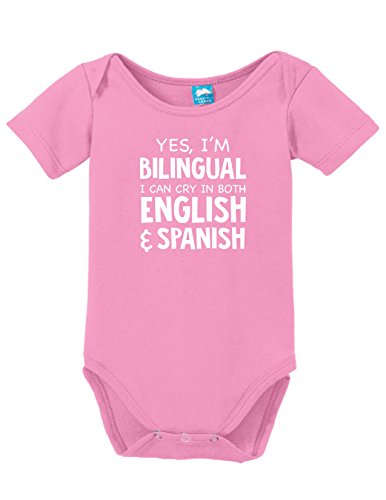 Yes im bilingual i can cry Printed Infant Bodysuit Baby Romper Pink 3-6 Month
