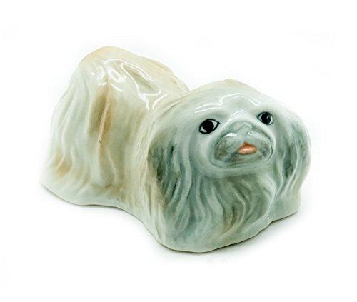 Grandroomchic Animal Miniature Handmade Porcelain Statue Pekingese Dog Figurine Collectibles Gift