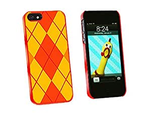 Graphics and More Argyle Hipster Orange Snap-On Hard Protective Case for iPhone 5/5s - Non-Retail Packaging - Red