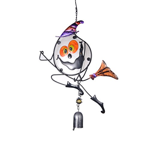 Cheap H&D Halloween Hanging Decorations Pumpkin Cat Witch Enameled Glass Ornaments Wind Chimes (Witch)