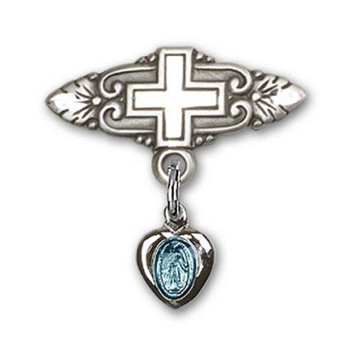 Icecarats Créatrice De Bijoux En Argent Sterling Miraculeuse Broche De Badge Charme Bleu Avec Croix 3/4 X 3/4