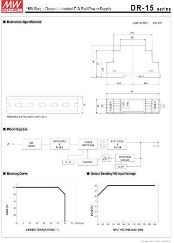 Meanwell DR-15-12 15W 12V 1.25A Le Rail De Guidage Source Dalimentation 100-240VAC-DC12V Din-Rail Power Supply