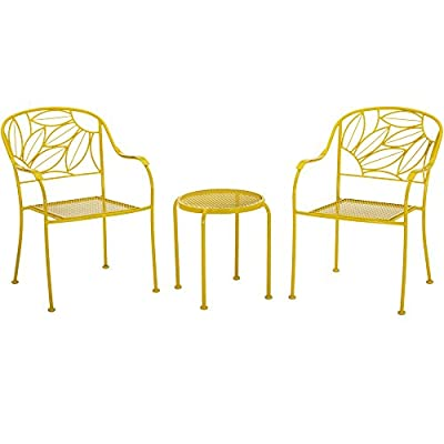 Vibrant Sunny Yellow Patio Furniture Heavy Duty Steel Frame 3Pc Bistro Set