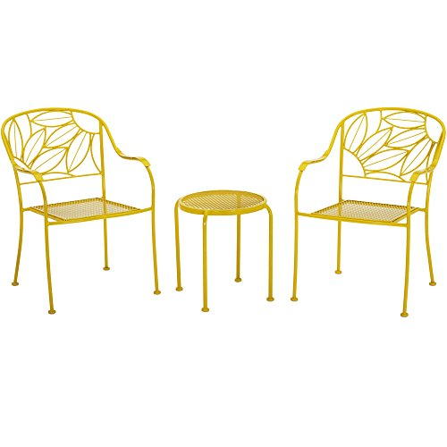 Marbrisa Dining Table (Vibrant Sunny Yellow Patio Furniture Heavy Duty Steel Frame 3Pc Bistro Set)