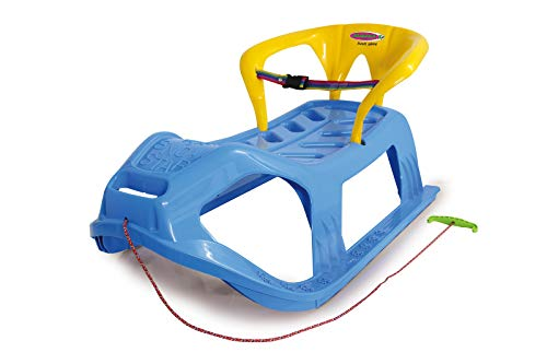 Jamara 460367 460367-Snow Play Sled Snow-Star 90cm Metal Runners, Protection Against Tipping, Backrest incl. Safety Strap, Blue by JAMARA