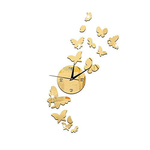 Drelaclock 3D DIY Butterfly Wall Clock Sticker Large Digital Wall Watch Reloj Pared Modern Design Living