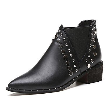 Gll Décontracté Chaussures Femme Black Talon Marche 2 5 Noir De 4 Bottes Polyuréthane Cm Combat 5 Habillé Plat Billes Formelles À amp;xuezi Automne Boîtes ArwvqAY