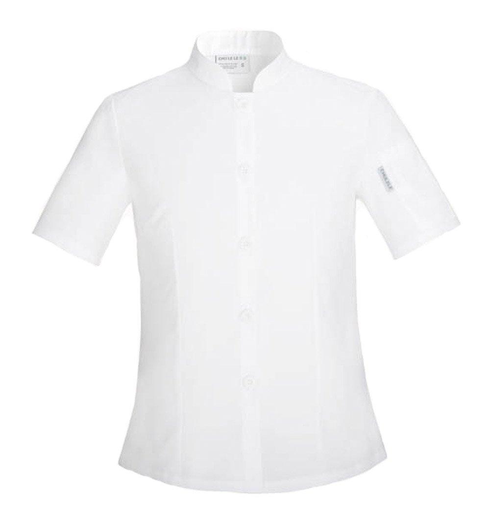 Seven Star Chef's Jackets Hotel Kitchen Workwear Short Sleeve Womens Chef Uniforms (XL, White)
